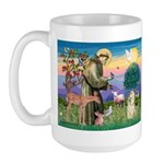 St Francis / Cocker (buff) Large Mug