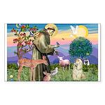 St Francis / Cocker (buff) Rectangle Sticker
