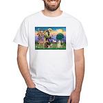 St Francis / Cocker (buff) White T-Shirt