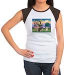 St Francis / Cocker (buff) Women's Cap Sleeve T-Sh