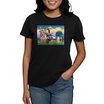 St Francis / Cocker (buff) Women's Dark T-Shirt