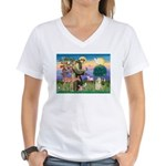 St Francis / Cocker (buff) Women's V-Neck T-Shirt
