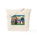 St Francis / Collie Pair Tote Bag