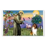 St Francis / Collie Rectangle Sticker