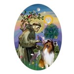 St. Francis & Collie Oval Ornament