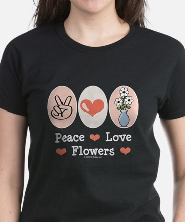 Peace Love Flowers Women's Dark T-Shirt