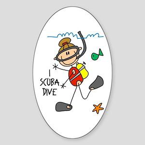 I Scuba Dive Oval Sticker