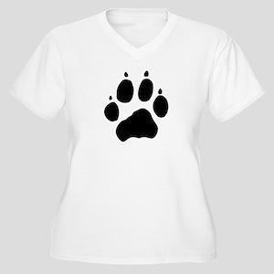 Wolf Paw Women's Plus Size V-Neck T-Shirt