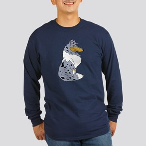 Blue Merle Rough Collie Long Sleeve Dark T-Shirt