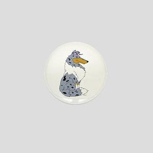 Blue Merle Rough Collie Mini Button
