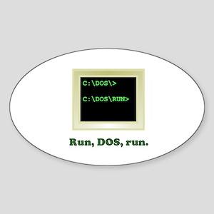 Run, DOS, Run Oval Sticker