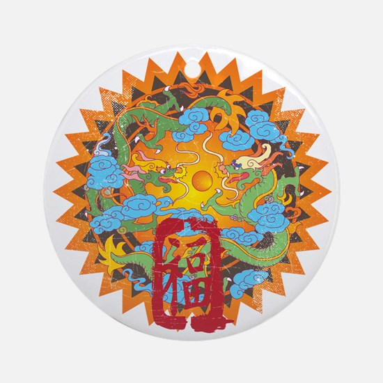 Good Fortune Dragons Ornament (Round)