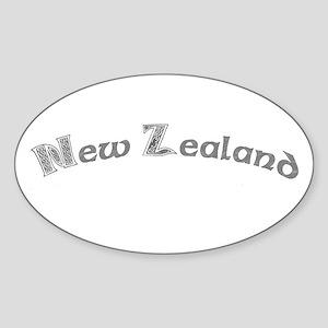 New Zealand Celtic Gray Oval Sticker