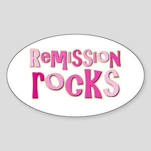 Remission Rocks Breast Cancer Oval Sticker