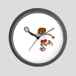 Red Tennis Player Wall Clock