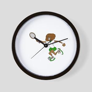 Green Tennis Player Wall Clock