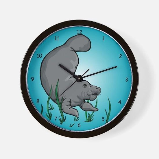 Swimming Manatee Wall Clock