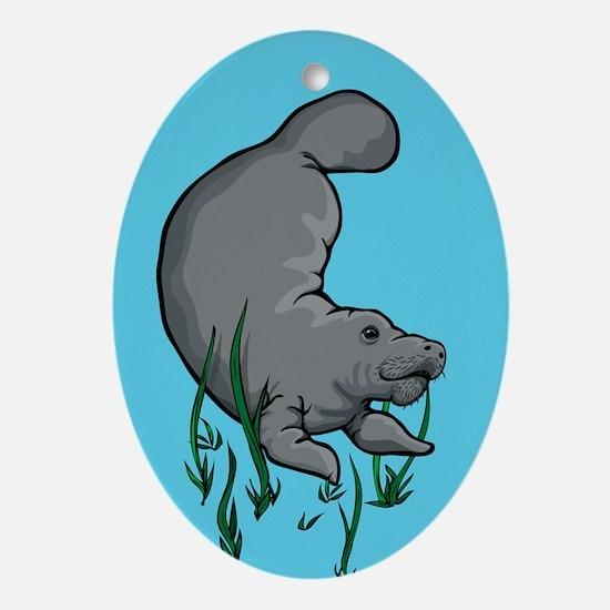 Swimming Manatee Oval Ornament
