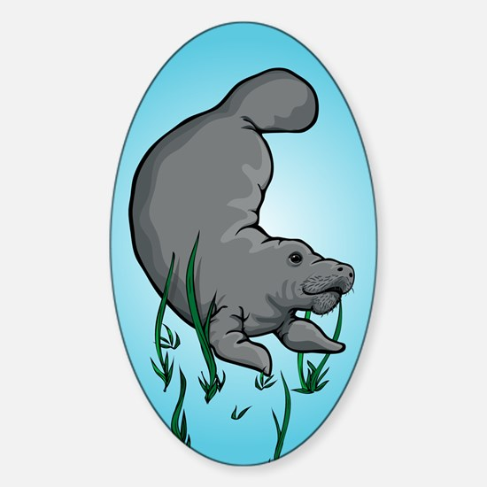 Swimming Manatee Oval Decal