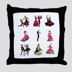 Flamenco Spanish Dancing Throw Pillow