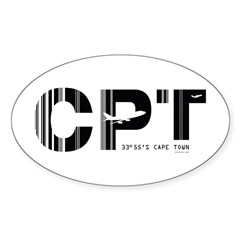 Cape Town Airport CPT South Africa Sticker Oval