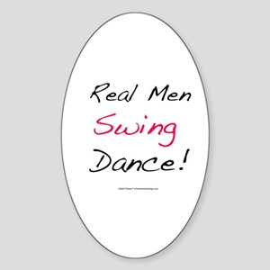 Real Men Swing Dance Oval Sticker