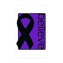 Purple (Believe) Ribbon Rectangle Sticker 10 pk)