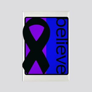 Purple and Blue (Believe) Ribbon Rectangle Magnet