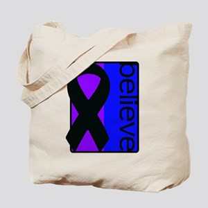 Purple and Blue (Believe) Ribbon Tote Bag
