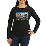 St Francis Doxie Women's Long Sleeve Dark T-Shirt