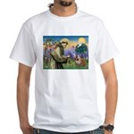 St. Francis & English Bulldog White T-Shirt