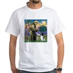 St Francis & English Springer White T-Shirt