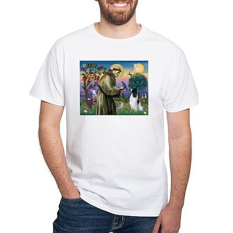 St Francis & English Springer White T-Shirt