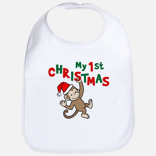My First Christmas - Monkey Bib