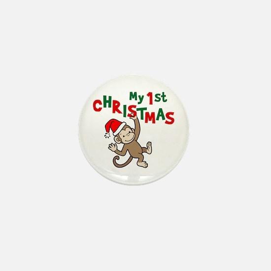 My First Christmas - Monkey Mini Button