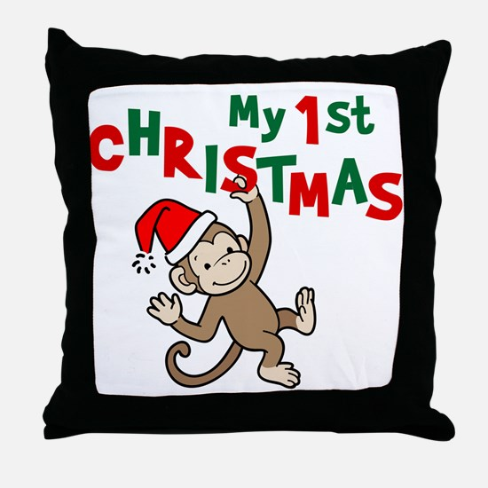 My First Christmas - Monkey Throw Pillow