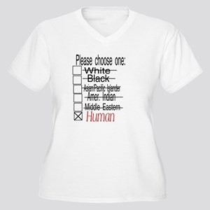 Box check Plus Size V-Neck T-Shirt