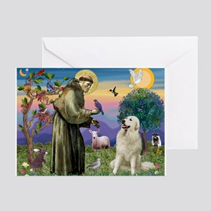 St. Francis & Great Pyrenees Greeting Card