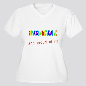 biracial multicolored Plus Size V-Neck T-Shirt