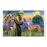 St Francis / Greyhound (f) Rectangle Sticker