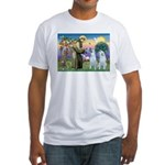 St Francis / 2 Irish Wolfhounds Fitted T-Shirt