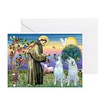 St Francis / 2 Irish Wolfhounds Greeting Cards (Pk