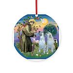 St Francis / 2 Irish Wolfhounds Ornament (Round)