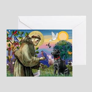 Saint Francis & Black Lab Greeting Card