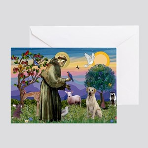 St Francis/Yellow Lab Greeting Card