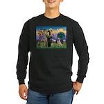 St Francis/Yellow Lab Long Sleeve Dark T-Shirt