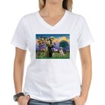 St Francis/Yellow Lab Women's V-Neck T-Shirt