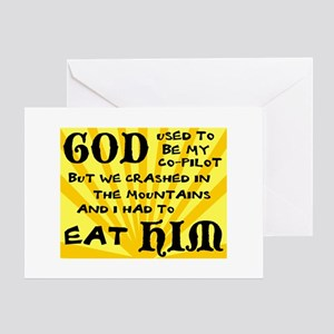 God was my Co-Pilot Greeting Card