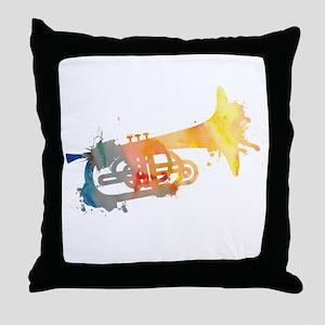 Paint Splat Mellophone Throw Pillow