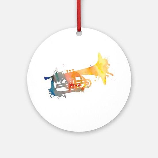 Paint Splat Mellophone Ornament (Round)